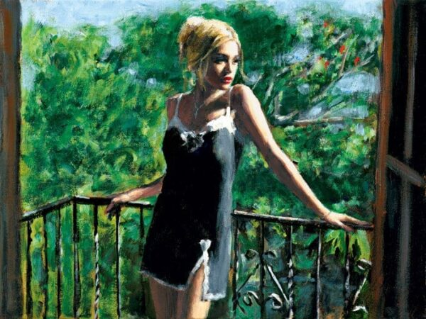 Sally In The Sun - Hand Embellished Signed Limited Edition Canvas Print by Fabian Perez - Mounted Unframed