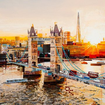 Sunbeams, Tower Bridge - Hand Embellished Signed Limited Edition Paper Print by Tom Butler - Mounted Unframed