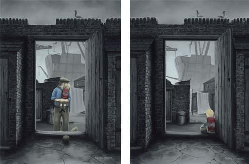 Sitting Tight/Back At Last - Signed Limited Edition Paper Diptych by Leigh Lambert - Mounted