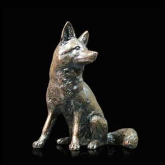 Fox Sitting Bronze Sculpture by Michael Simpson