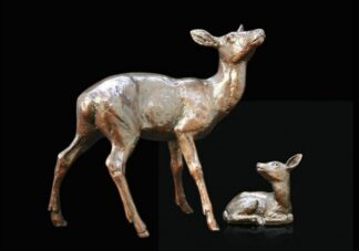 Hind And Fawn Bronze Sculpture by Michael Simpson