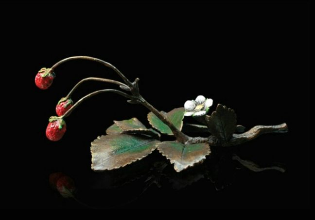 Strawberries Bronze Sculpture by Michael Simpson