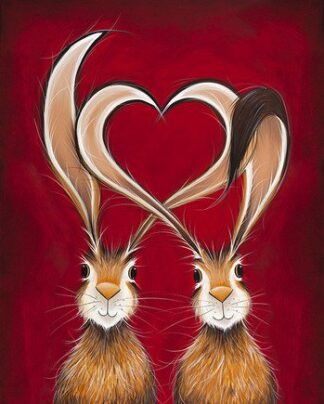 Take Hare Of My Heart - Hand Embellished Signed Limited Edition Canvas on Board Print by Jennifer Hogwood Compulsory Framed