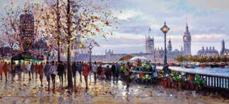 Lamplight - Hand Embellished, Signed Limited Edition Canvas on Board Print by Henderson Cisz Unframed