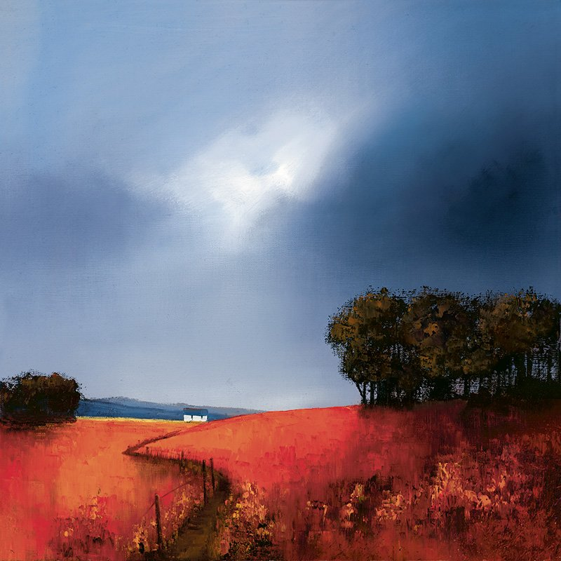 Crimson Fields Of Home - Signed Limited Edition Paper Print by Barry Hilton Mounted Unframed