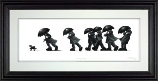Walking The dog - Signed Limited Edition Paper Print by Mackenzie Thorpe - Mounted Framed