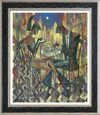 City Lights - Signed Limited Edition Hand Embellished Canvas Print by Andrei Protsouk Framed