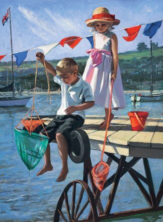 Fishing From The Jetty - Signed Limited Edition Hand Embellished Canvas Print on Board by Sherree Valentine Daines Unframed