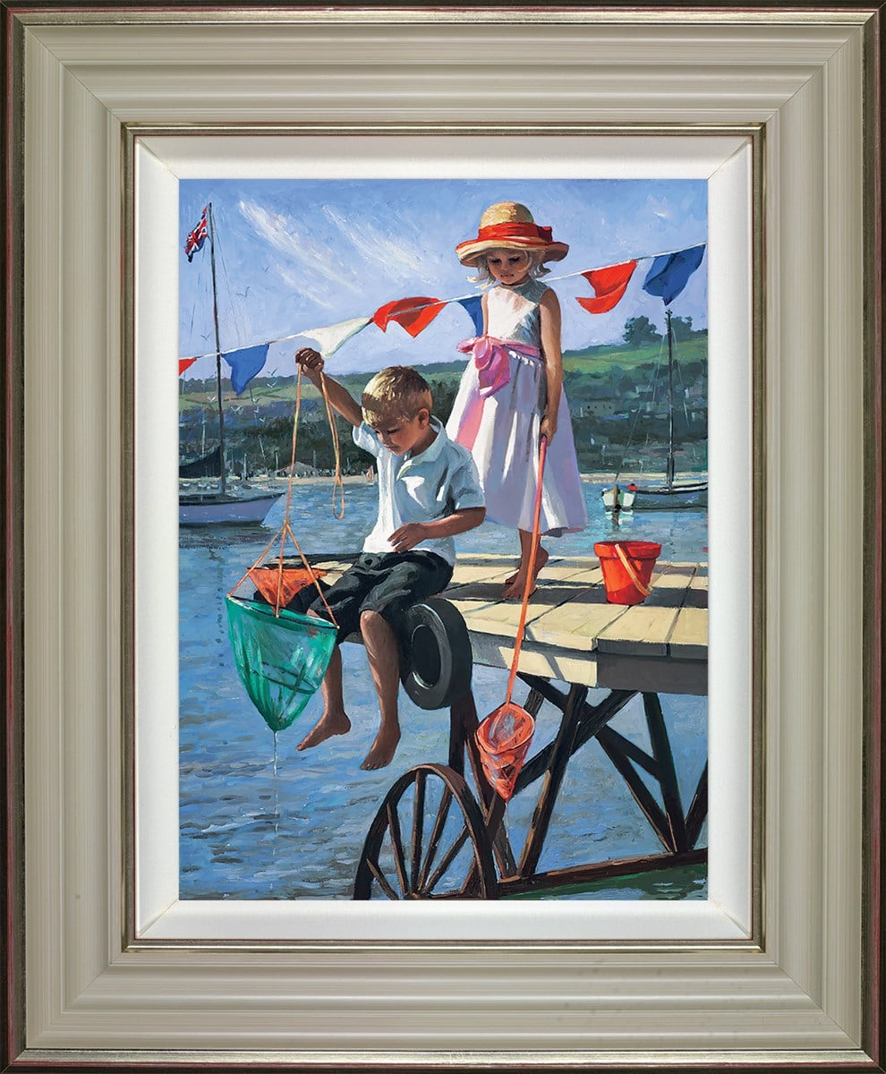 Fishing From The Jetty - Signed Limited Edition Hand Embellished Canvas Print on Board by Sherree Valentine Daines Framed