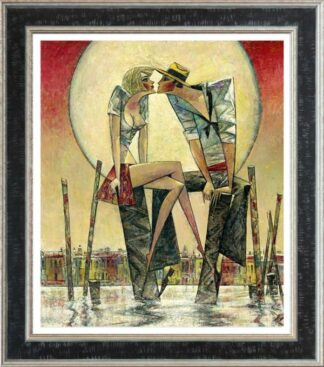 Lunar Love - Signed Limited Edition Hand Embellished Canvas Print by Andrei Protsouk Framed