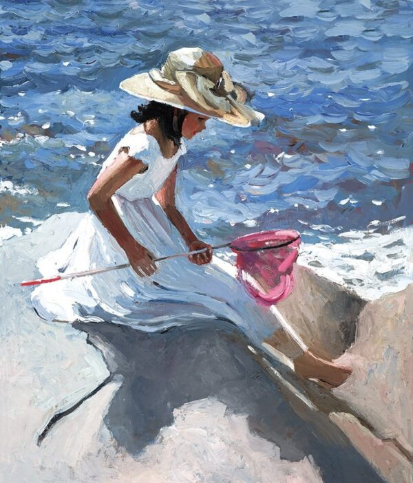 Sitting On The Rocks - Signed Limited Edition Hand Embellished Canvas Print on Board by Sherree Valentine Daines Unframed
