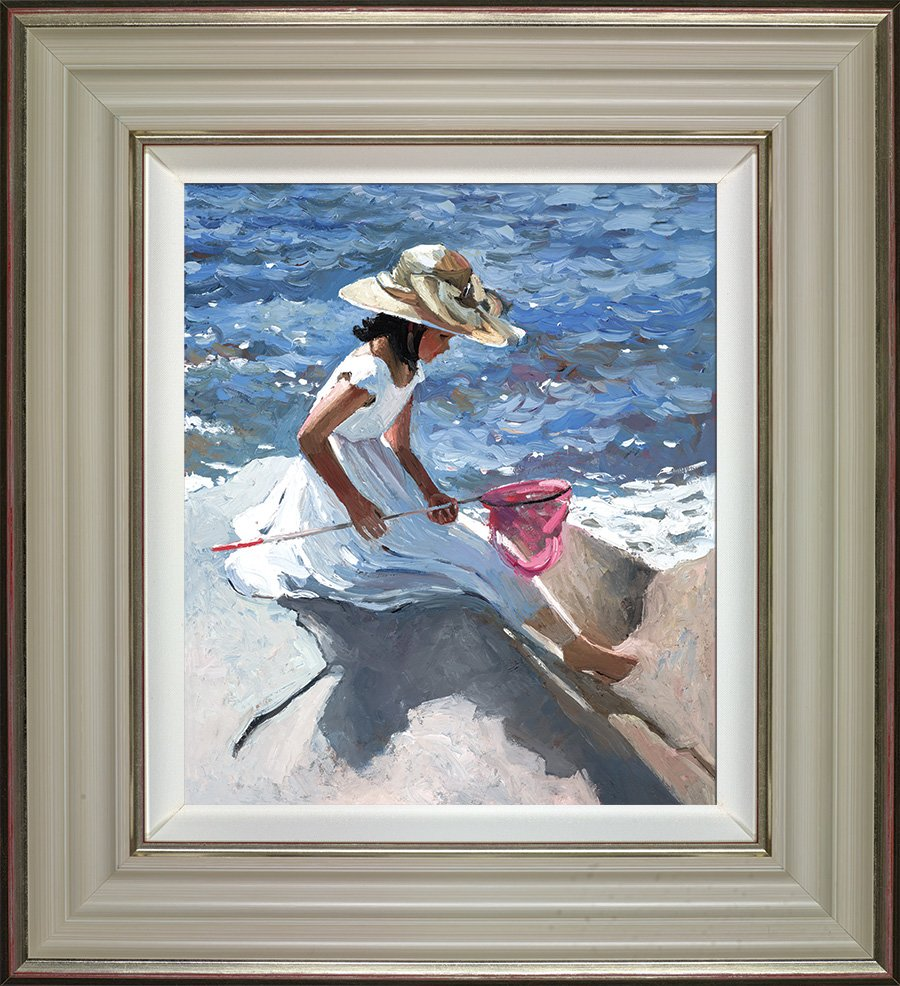 Sitting On The Rocks - Signed Limited Edition Hand Embellished Canvas Print on Board by Sherree Valentine Daines Framed