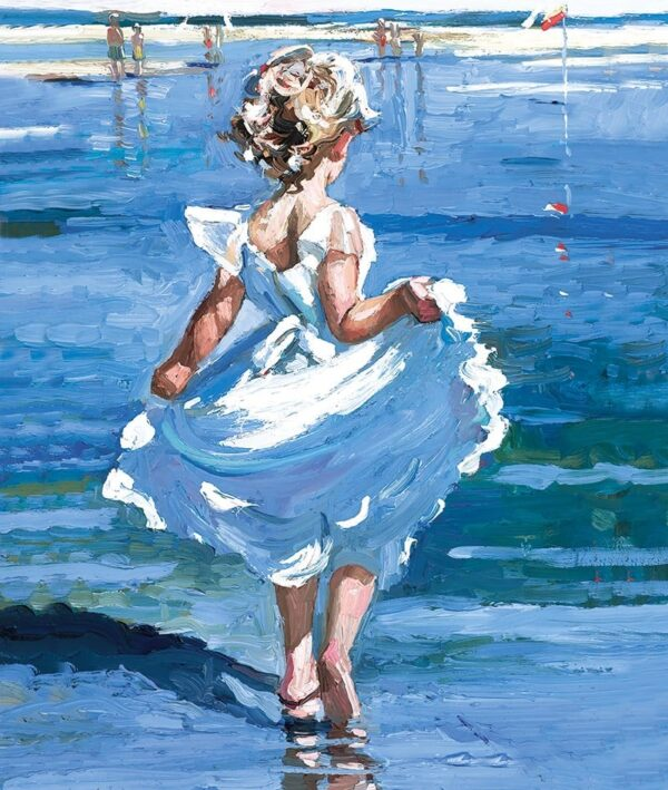 Walking In The Shallows - Signed Limited Edition Hand Embellished Canvas Print on Board by Sherree Valentine Daines Unframed