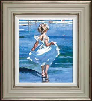 Walking In The Shallows - Signed Limited Edition Hand Embellished Canvas Print on Board by Sherree Valentine Daines Framed