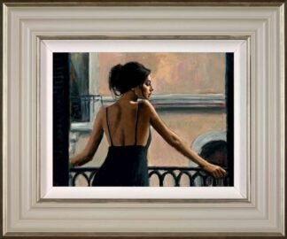 Balcony At Buenos Aires VI - Signed Limited Edition Canvas Print on Board by Fabian Perez - Framed