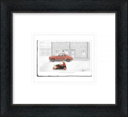 Mines Faster Than Yours - Signed Limited Edition Paper Sketch Print by Leigh Lambert - Mounted And Framed