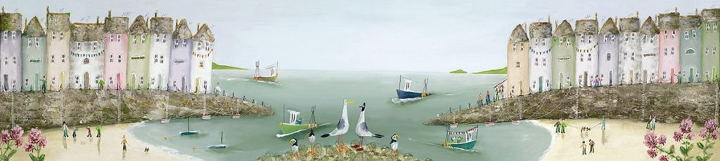 Collecting Shells - Signed Limited Edition Boxed canvas print by Rebecca Lardner - Unframed