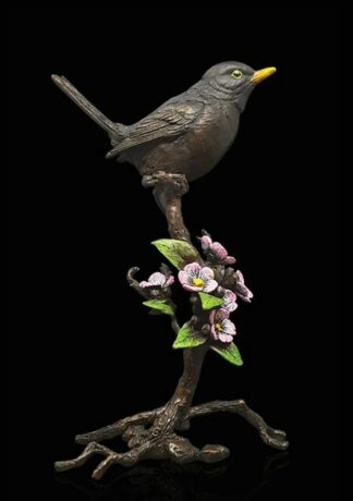 Blackbird blossom - Signed limited edition bronze Sculpture from Richard Cooper Art