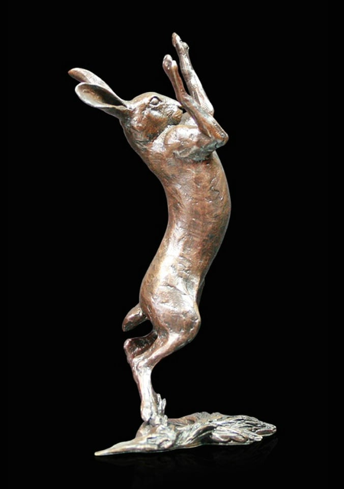 Medium Hare Boxing - Signed limited edition bronze Sculpture from Richard Cooper Art