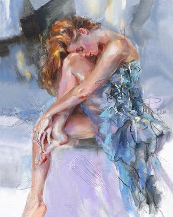 Time Goes Slowly signed limited edition hand embellished canvas on board from Anna Razumovskaya unframed