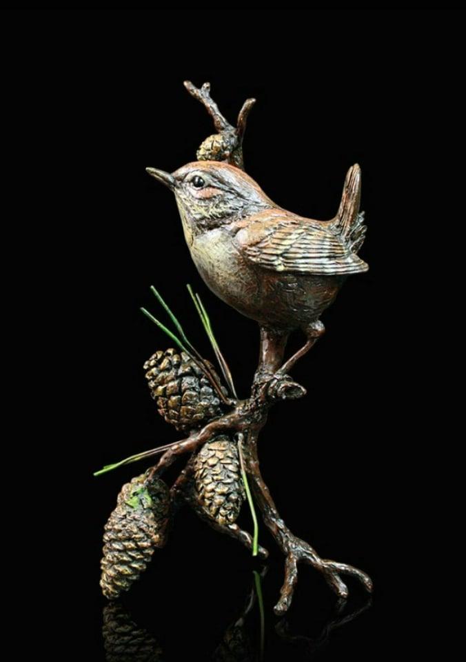 Wren - pine cones - Signed limited edition bronze Sculpture from Richard Cooper Art