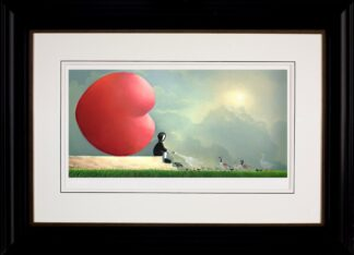 Feed The Birds signed limited edition paper print on board from Mackenzie Thorpe framed in the artists recommended frame