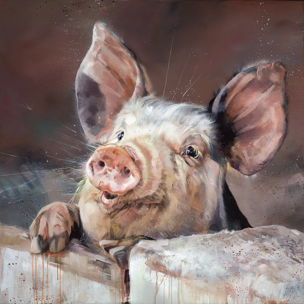 Pig Tale - Signed limited edition canvas print on board by Debbie boon