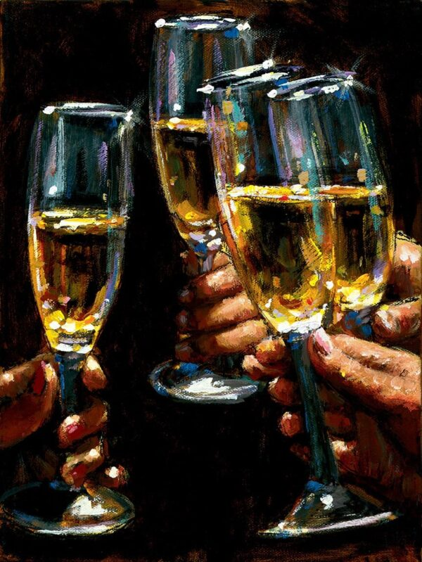 Brindis con champagne signed limited canvas print on board from Fabian Perez - unframed
