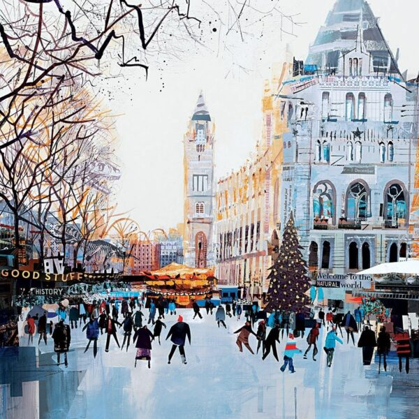 Festive Skaters signed limited edition paper print from Tom butler - Unframed And Mounted