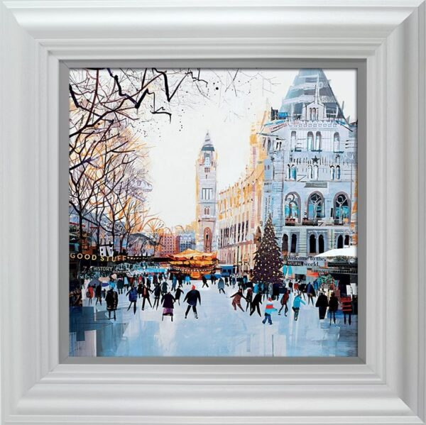 Festive Skaters signed limited edition paper print from Tom butler - Framed in the artists recommended Frame