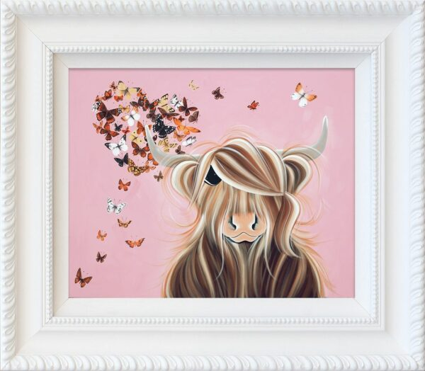 Flutterby Love signed limited hand embellished canvas print on board from Jennifer Hogwood - Framed in the artists recommended Frame