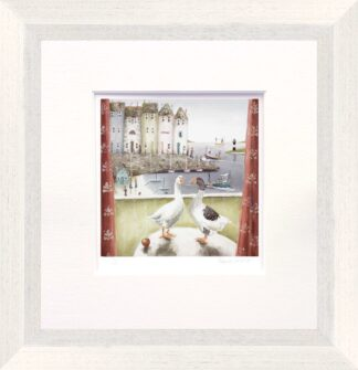 Home Birds signed limited paper print and mounted from Rebecca Lardner - Framed in the artists recommended Frame