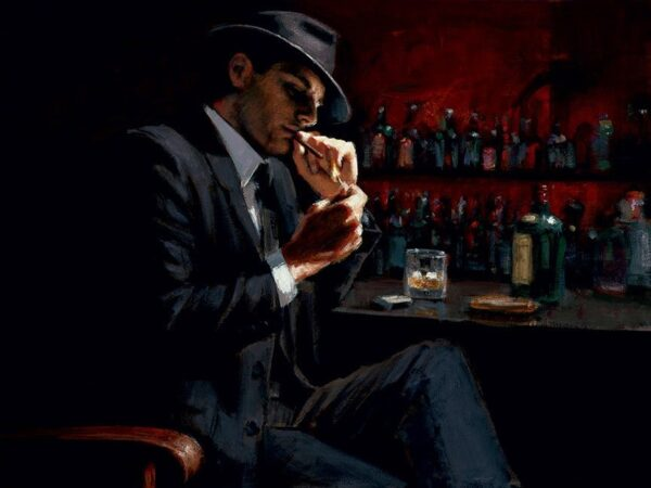 Man Lighting Cigarette signed limited canvas print on board from Fabian Perez - unframed