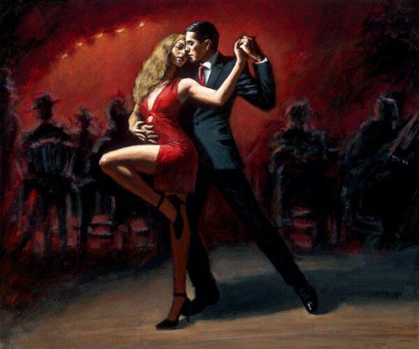 Tango En San Telmo signed limited canvas print on board from Fabian Perez - unframed