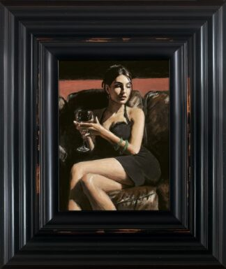 Tess On Leather Couch signed limited canvas print on board from Fabian Perez - Framed in the artists recommended Frame