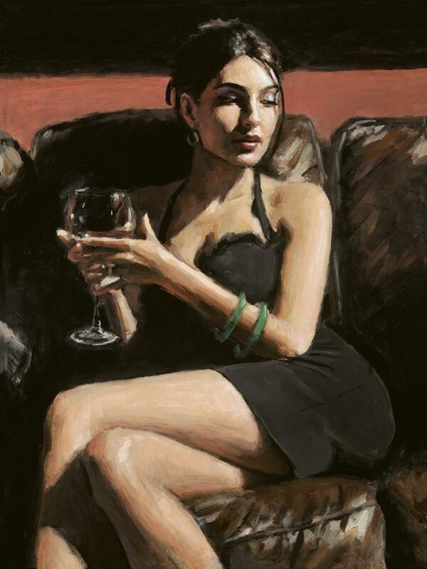 Tess On Leather Couch signed limited canvas print on board from Fabian Perez - unframed