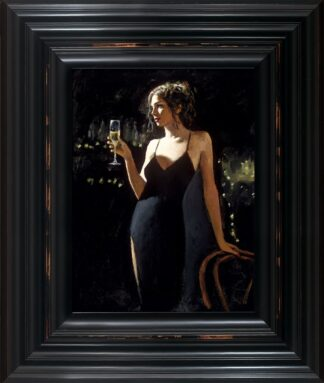 Tiffany With champagne signed limited canvas print on board from Fabian Perez - Framed in the artists recommended Frame