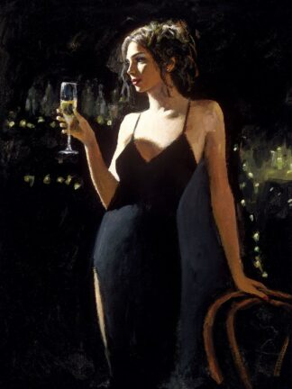 Tiffany With champagne signed limited canvas print on board from Fabian Perez - unframed