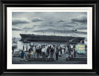 off she goes signed limited deluxe canvas print from Leigh Lambert - Framed in the artists recommended Frame
