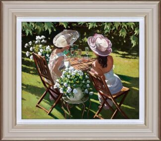 Champagne Celebration Signed Limited Canvas print by Sherree Valentine Daines framed in the artists recommended frame