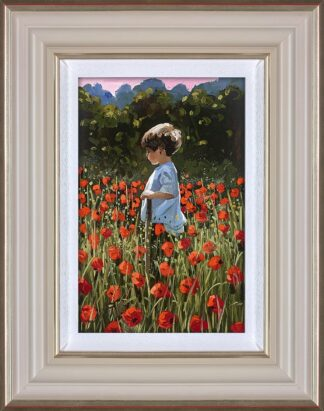Lost Amongst The poppies Signed Limited Canvas print by Sherree Valentine Daines framed in the artists recommended frame