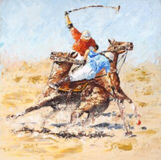 Beach Polo - Canvas on board print by Michael Parker