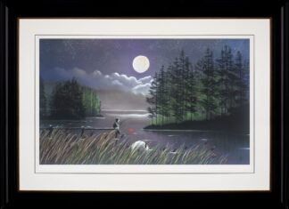 I'll Catch You The Moon - Signed Limited Edition paper print by Mackenzie Thorpe Framed in the artists recommended frame