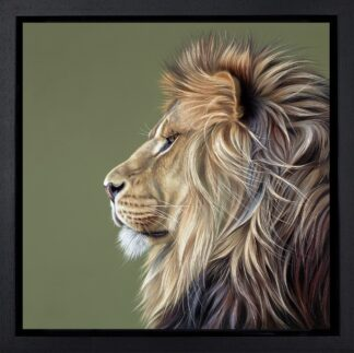 King Of The Savannah - Signed Limited Edition boxed canvas print by Darryn Eggleton Framed in the artists recommended frame