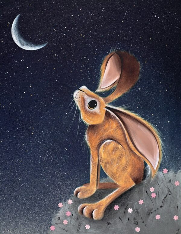 Moongazer - Signed Limited Edition hand embellished canvas print by Jennifer Hogwood