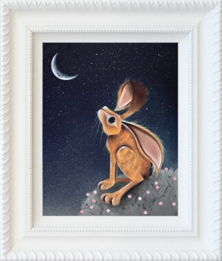 Moongazer - Signed Limited Edition hand embellished canvas print by Jennifer Hogwood Framed in the artists recommended frame