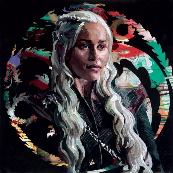 Mother Of Dragons - Signed Limited Edition hand embellished canvas on board print by Zinsky