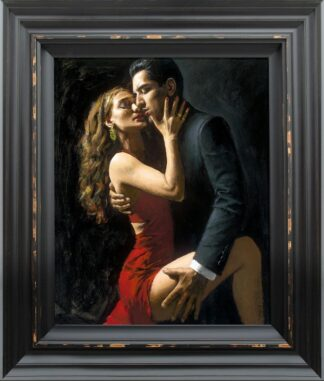 Tango en San Telmo III - signed limited edition hand embellished canvas print by Fabian Perez framed in the artists recommended frame