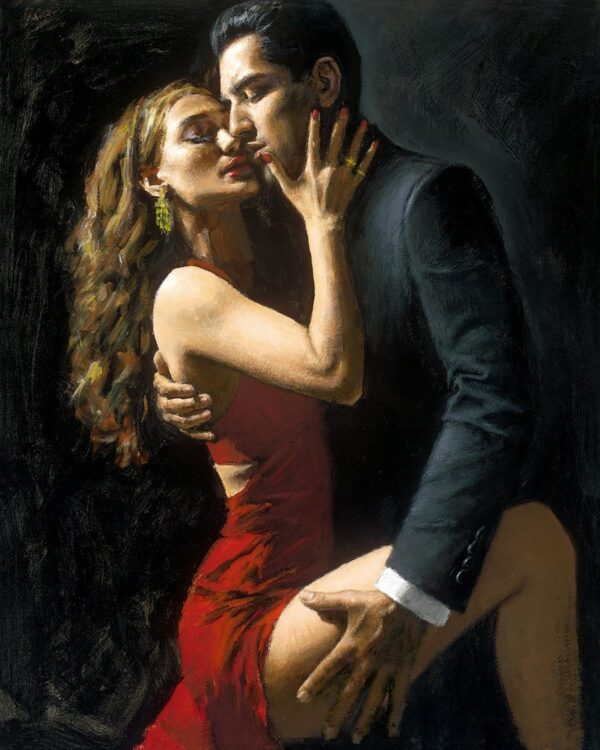 Tango en San Telmo III - signed limited edition hand embellished canvas print by Fabian Perez