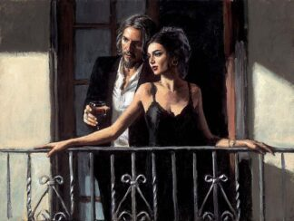 Fabian and Lucy At The Balcony II - Signed Limited Edition Hand Embellished Canvas print on Board by Fabian Perez. Framed in the Artists Recommended Frame.
